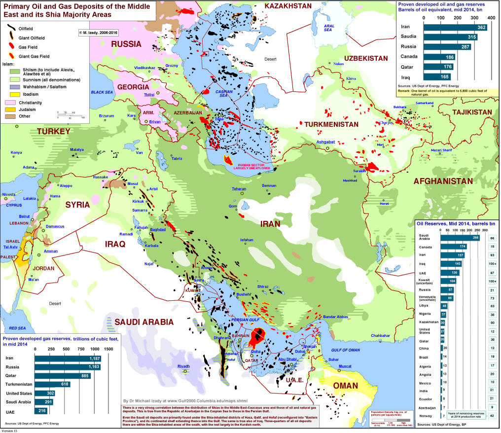 Principales zones chiites et réserves pétrolières - 3/4 cartes