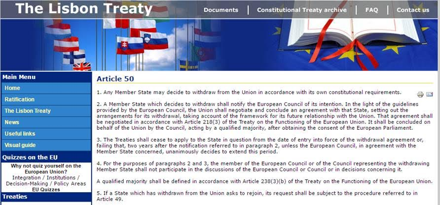 Brexit - Early comment... Look like UK will cancel contract with EU and the political establishment... - treaty